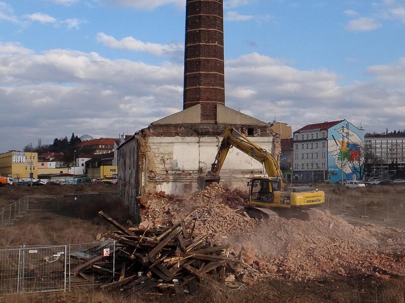 Demolice kotelny Rustonky (foto Jan Zikmund, 28. 2. 2014)